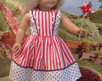 Fourth of July Dress with Matching Headband for American Girl Dolls