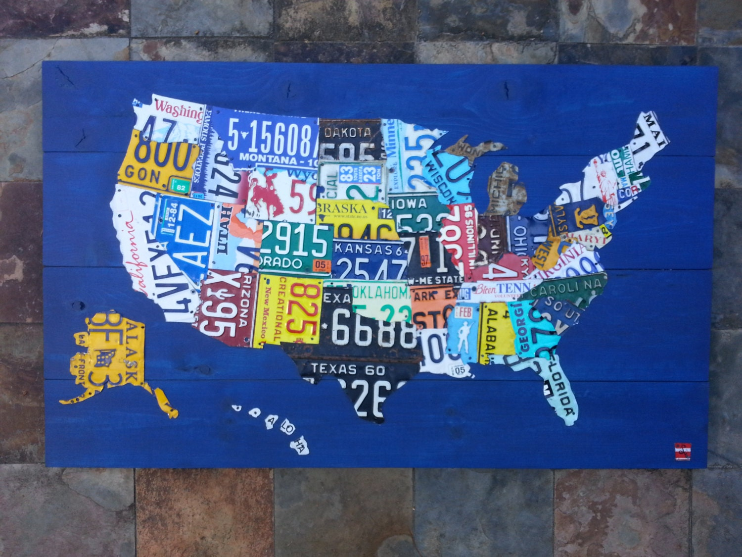 Recycled Art Co. License Plate United States Map
