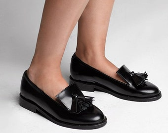 SALE - Black Leather Loafers, Women Handmade Tassel Shoes, Black Leather Flat Moccasins, Flats Slip on Shoes
