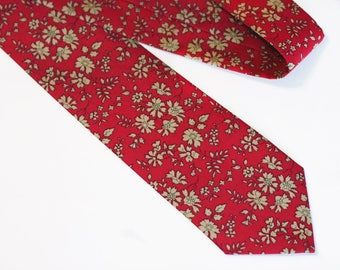 Raspberry Red Tie - Red Floral Neck Tie - Red and Taupe Tie - Liberty of London - Red Wedding - Groomsmen Gift - Christmas Gift -Liberty Tie