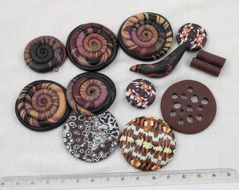 "Assortment of unique handmade polymer beads / Set ""Brown"""