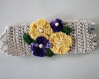 Violet & Yellow Crochet Flower Cuff