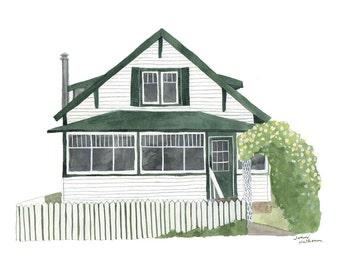 Custom Watercolor House Portrait • original watercolor illustration • personalized anniversary gift • housewarming gift • paper anniversary