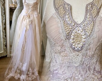 Wedding dress vintage inspired,bridal gown fairy,boho wedding dress,lace wedding dress,shabby chic wedding,recycle,rustic wedding dress,boho