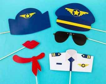 Kit 6 accessories photobooth aviators - pilot and stewardess