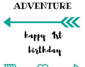 You are our Greatest Adventure - Happy 1st Birthday - cotton calico pennant
