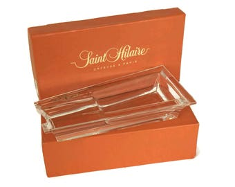 Saint Hilaire Silver and Crystal Cigar Ashtray. Vintage French Cigar Holder. Luxury Gift for Smoker. Mancave Decor.