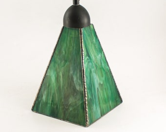 Green Pendant Light, Kitchen Lighting, Home Interior Lighting, Stained Glass Lamp, Hanging Pendant, Modern Ceiling Fixture, Choice of Finish