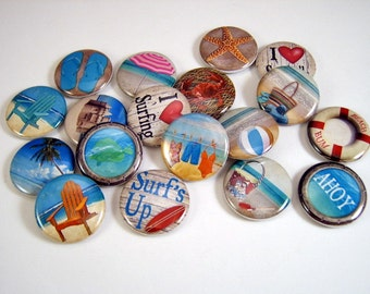 One Inch Beach Flatback Buttons, Pins, Magnets 12 Ct.