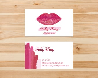Items similar to premade business card lips business card makeup artist business card lips business card beauty business card makeup calling card reheart Gallery