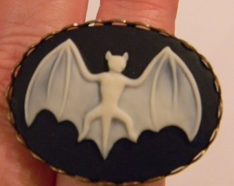 Gothic Vampire Creepy Bat  Cameo - Vampire Rings Cabochon  Adjustable Setting