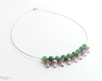Elegant, boho chic necklace, green, purple