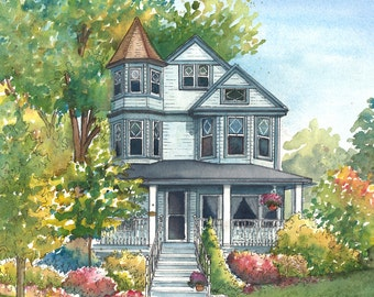 Custom House Painting in Watercolor  Architectural sketch of your home Home portrait
