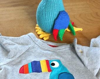 Toucan knitting pattern, easy toy bird knitting pattern PDF download, cute DIY toy pattern