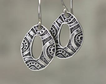 Sterling Silver Dangle Earrings – Tribal Earrings – Dangle Sterling Silver Earrings – Ethnic Earrings – Tribal Jewelry – Patterned Earrings