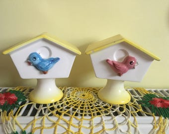 Vintage Blue Red Bird House Salt and Pepper Shakers