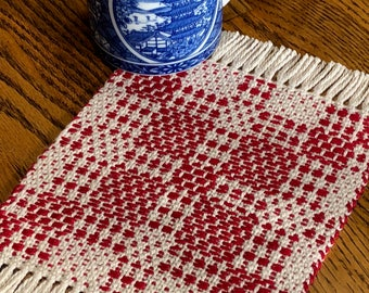 Coffee Mug Coasters, Drink Coasters, Handwoven Red and Beige, Woven Coasters, Fabric Coasters, Mug Rug, Mug Mat, Loom Woven Coasters