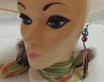Turkey Feather Earrings with Peace Sign