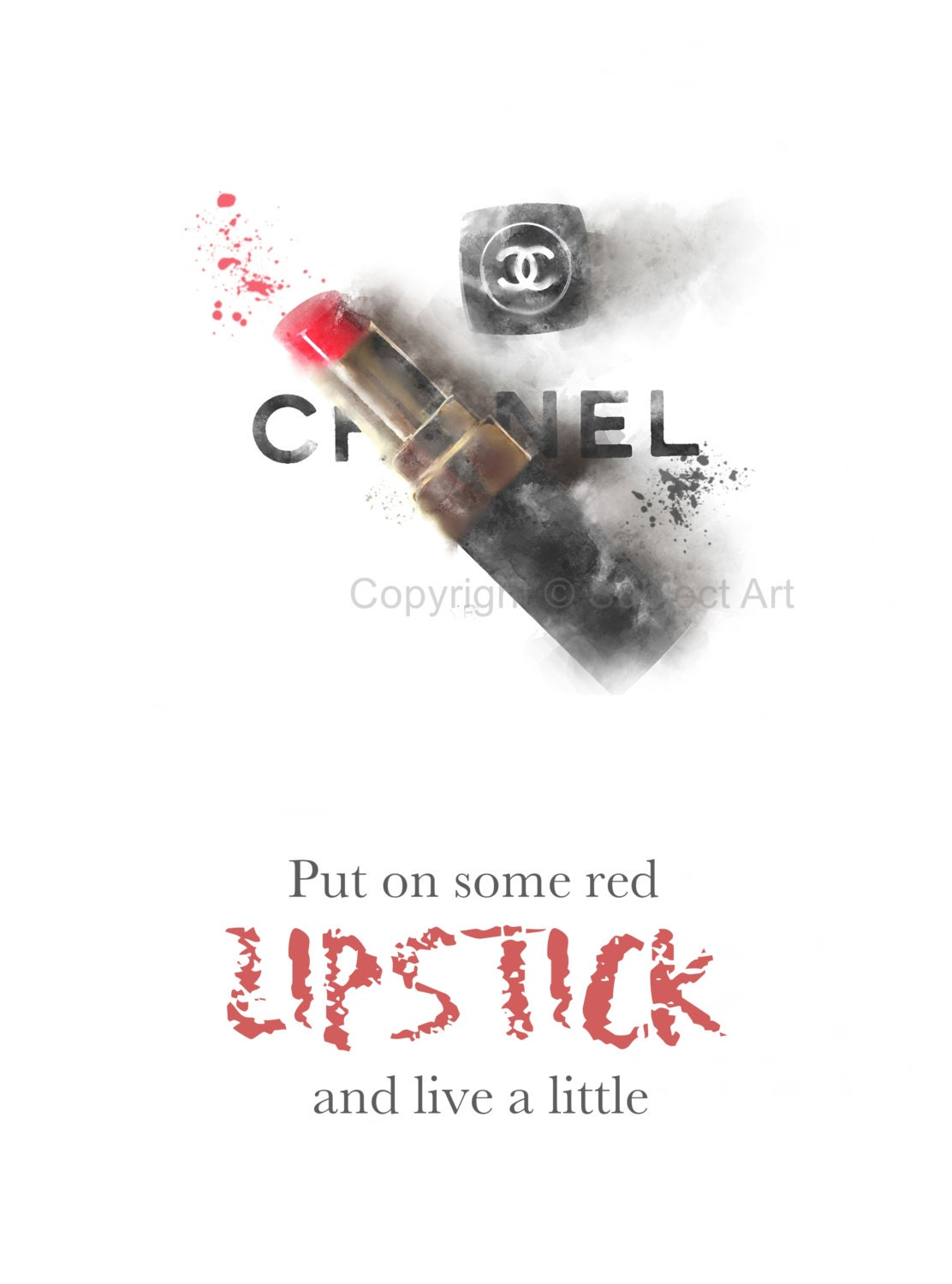 Lipstick Quotes Art Print Chanel Lipstick Fashion Quote 'put On Some Red