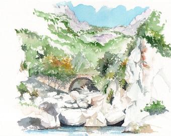 Original watercolour - Gorge d'Héric - South of France