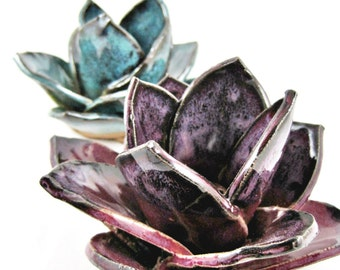 Pottery incense burners, handmade flower incense burners, incense holder, yoga decor, home decor - In stock