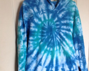 Cerulean Blue and Irish Green Spider Tie Dyed Youth Unisex Hoodie