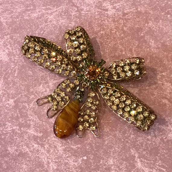 Schreiner Fabulous Bow Brooch with Art Glass Dangle