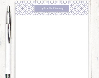 personalized notePAD - INTERLOCKING CIRCLE PATTERN - fun stationery - patterned paper - letter writing paper - girl stationary