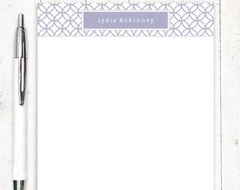 personalisierte Notizblock - Verriegelung Kreis-Muster - Spaß Briefpapier - gemustertes Papier - Brief Briefpapier - Mädchen stationär