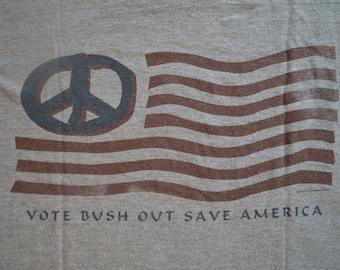 Large // Vote Bush Out // George W Bush // Republican // Democrat // T-Shirt // Tee // Gray // Impeach // Political // Politics