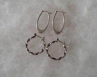 Two Vintage Sterling silver Hoop & Oval Earrings 925 Han Italy