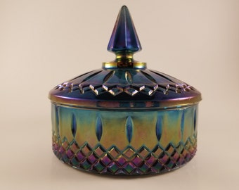 Vintage Blue Iridescent glass container