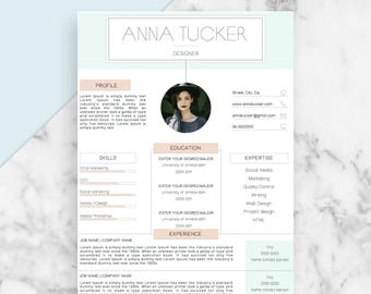 Modern Resume Template / CV Template   Professional and Creative Resume   Teacher Resume   Word Resume   Instant Download