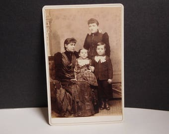 Antique Victorian photograph family Victorian cabinet card