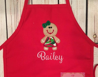 Gingerbread Personalized Christmas Apron