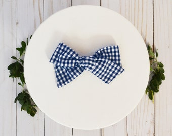 Navy and White Gingham Plaid Hand-tied Simple Fabric Bow Nylon Elastic or Alligator Clip