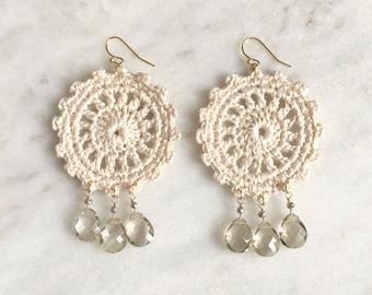 Ivory handmade crochet statement earrings, pale smokey quartz semi-precious