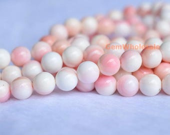 """15.5"""" 8mm Natural Blush Pink Queen Conch shell round Beads,  jewelry supply, pink shell beads, xl8"""