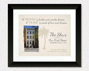 New House Photo Print, Personalized Housewarming Gift Print, A House is Bricks and Wooden Beams, A Home is Made of Love and Dreams Gift