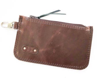 Elliot Bus Pass / Coin Wallet:  Chocolate Brown