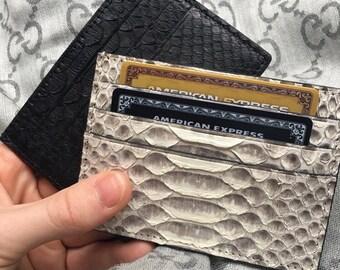 Genuine python leather card holder