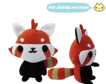 Red Panda Sewing Pattern, Red Panda Plush Toy, Stuffed Animal, DIY Stuffed Toy Panda, Stuffed Red Panda, Red Panda DIY Sewing, Red Panda Toy