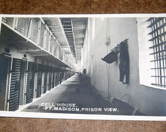 Ft. Madison Prison, Cell Block View, RPPC Real Photo Postcard
