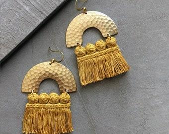 mustard fringe earrings / CHRYSOS / boho statement earrings, large earrings, dangle earrings, bohemian, statement jewelry, tassel, brass