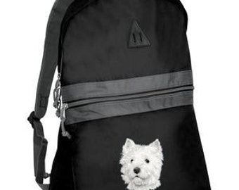 West Highland Terrier embroidered backpack