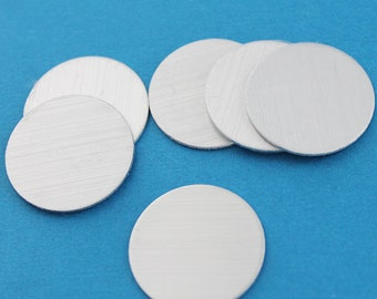 """10 Aluminum Stamping Tags Fine Brushed Aluminum Round 1"""" Disc - AAA Quality - MT037"""