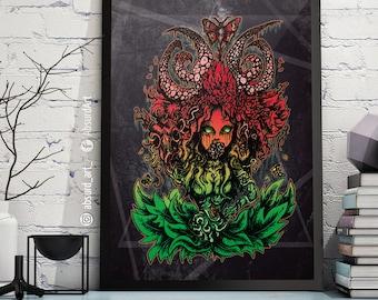 """Poster """"Flower girl"""", absurd art print, horror, flower, Monster, plant, fantasy, surreal artwork, digital painting"""