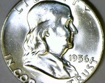 1956 Franklin Half Dollar; Choice BU++ FBL; Frosty White!