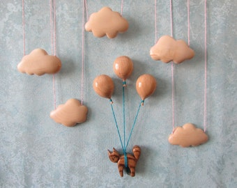 fridge magnet, cat, flying cat, balloon, beautiful fridge, unique gift.