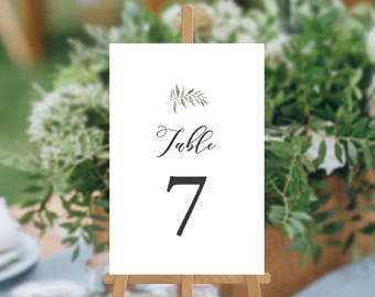 SALE, Professionally Printed Wedding Table Numbers, Watercolour Organic Natural, Wedding Table Cards